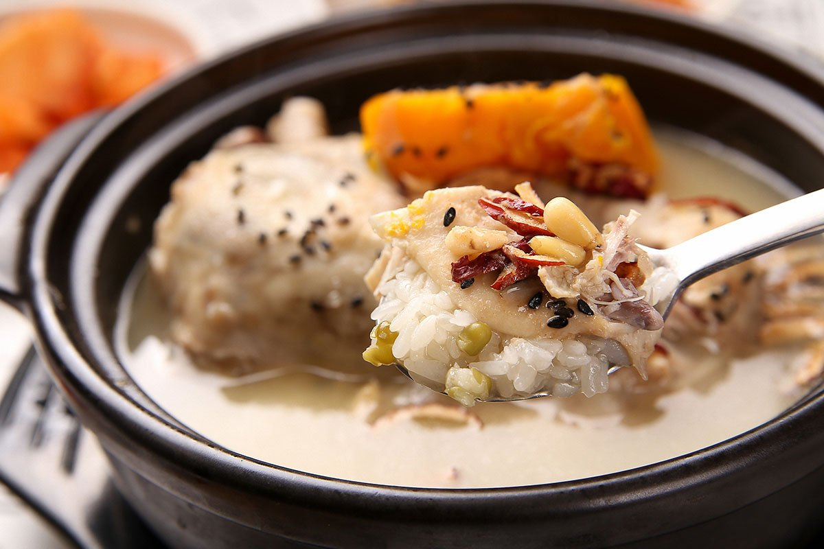 red ginseng samgyetang,samgaetang, chicken, chicken soup with ginseng ,??? , health food